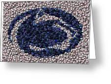 Penn State Bottle Cap Mosaic Greeting Card by Paul Van Scott