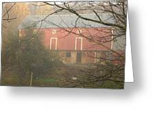 Pennsylvania German Barn In The Mist Greeting Card