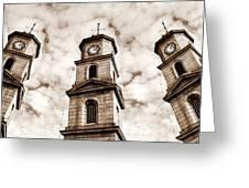 Penryn Clock Tower In Sepia Greeting Card