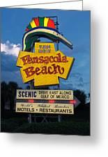 Pensacola Beach Sign At Sunset Greeting Card
