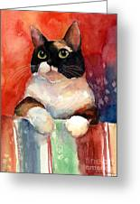Pensive Calico Tubby Cat Watercolor Painting Greeting Card
