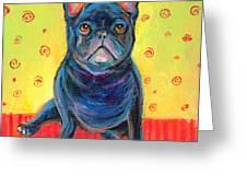 Pensive French Bulldog Painting Prints Greeting Card