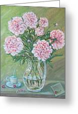 Peonies With A Cup Of Coffee, Some Cherries And A Lovenote Greeting Card