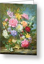 Peonies And Mixed Flowers Greeting Card