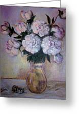 Peonies And Rings Greeting Card
