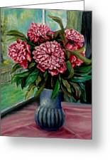 Peonies Flowers Original Painting Greeting Card