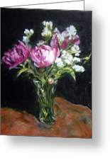 Peonies In A Glass Vase Greeting Card