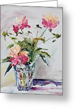 Peonies In Crystal Vase Greeting Card
