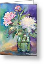Peonies In Jar Greeting Card