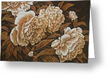 Peonies In Sepia Greeting Card by Karen Coombes