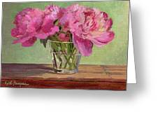 Peonies In Tumbler Greeting Card