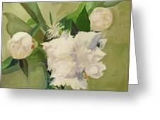 Peonies On Green Greeting Card