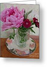 Peonies With Sweet Williams Greeting Card