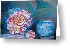 Peony And Chinese Vase Greeting Card