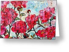 Peony Art Mixed Media Collage Art Floral Print Fine Art Print Peony Polka Greeting Card