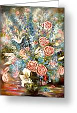 Peony, Delphinium And Liliums Greeting Card