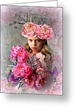 Peony Flower Child Greeting Card