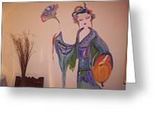 Peony The Geisha Greeting Card