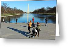 People At The Reflecting Pool Greeting Card