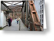 People Crossing Old Yugoslav Weathered Metal Bridge Crossing In Bosnia Hercegovina Greeting Card