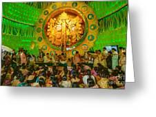 People Enjoying Inside Durga Puja Pandal Durga Puja Festival Greeting Card