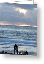 People Gather At Carmel Beach Greeting Card