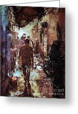 People In Alley Greeting Card