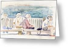 People On Benches Greeting Card