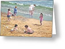 people on Bournemouth beach kids in sand Greeting Card by Martin Davey
