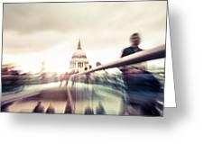 People On Millennium Bridge In London Greeting Card