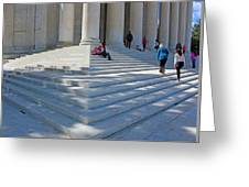People On Steps With Columns Greeting Card