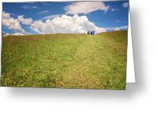 People On The Hill Painterly Greeting Card