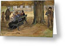 People Sitting On A Bench In Bezuidenhout. The Hague Greeting Card