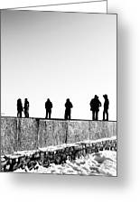 People Standing In Groups Abstract Monchrome Greeting Card