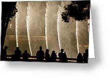 People Watching Fountain At Bellagio Greeting Card