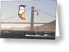 People Wind Surfing And Kitebording Greeting Card