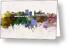 Peoria Skyline In Watercolor Background Greeting Card