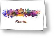 Peoria Skyline In Watercolor Greeting Card