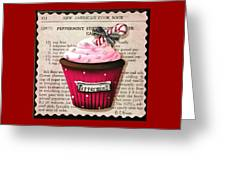 Peppermint Stick Christmas Cupcake Greeting Card