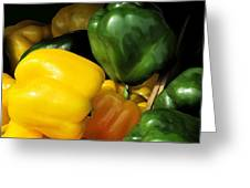 Peppers Yellow And Green Greeting Card