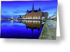 Perfect Riddarholmen Blue Hour Reflection Greeting Card