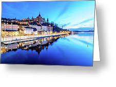 Perfect Sodermalm And Mariaberget Blue Hour Reflection Greeting Card