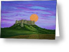 Perigee Moon Rising Above Crow Butte Greeting Card