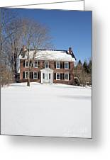 Period Vintage New England Brick House In Winter Greeting Card