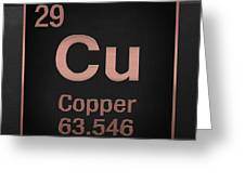 Periodic Table Of Elements - Copper - Cu - Copper On Black Greeting Card