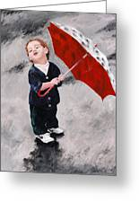 Perry In The Rain Greeting Card by Denise H Cooperman