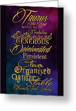 Personality Traits Of A Taurus Greeting Card by Mamie Thornbrue