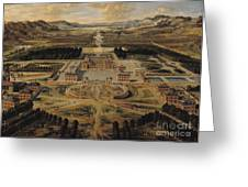 Perspective View Of The Chateau Gardens And Park Of Versailles Greeting Card by Pierre Patel