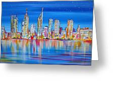 Perth Skyscrapers Skyline On The Swan River Greeting Card