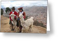 Peruvian Girls With Llamas Greeting Card